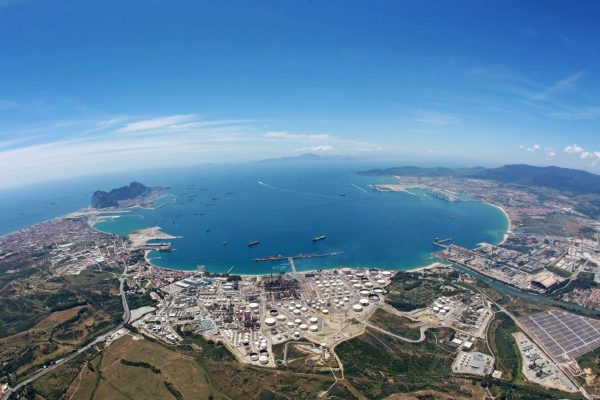 High View Of Gibraltar And Algecrias Ports And Straights